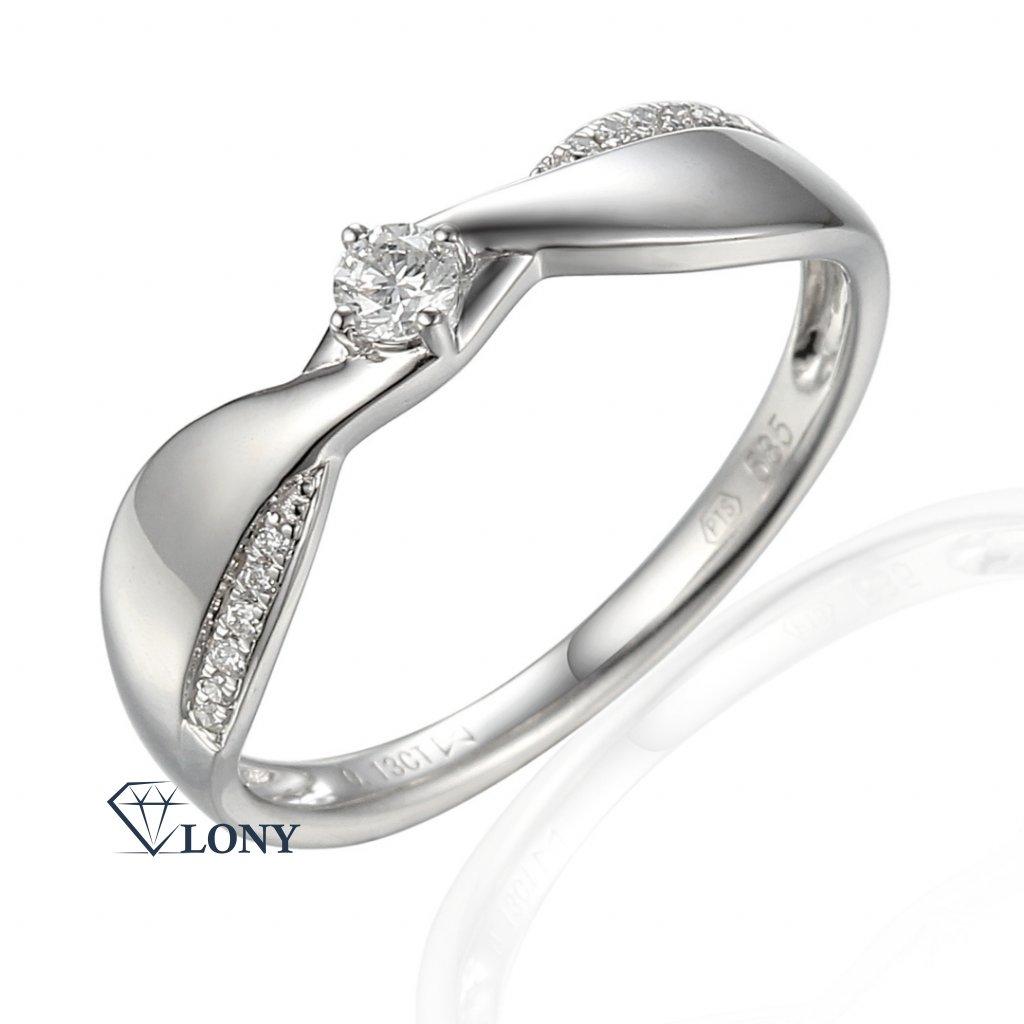 Neobvyklý zásnubní prsten Skylar, bílé zlato s brilianty