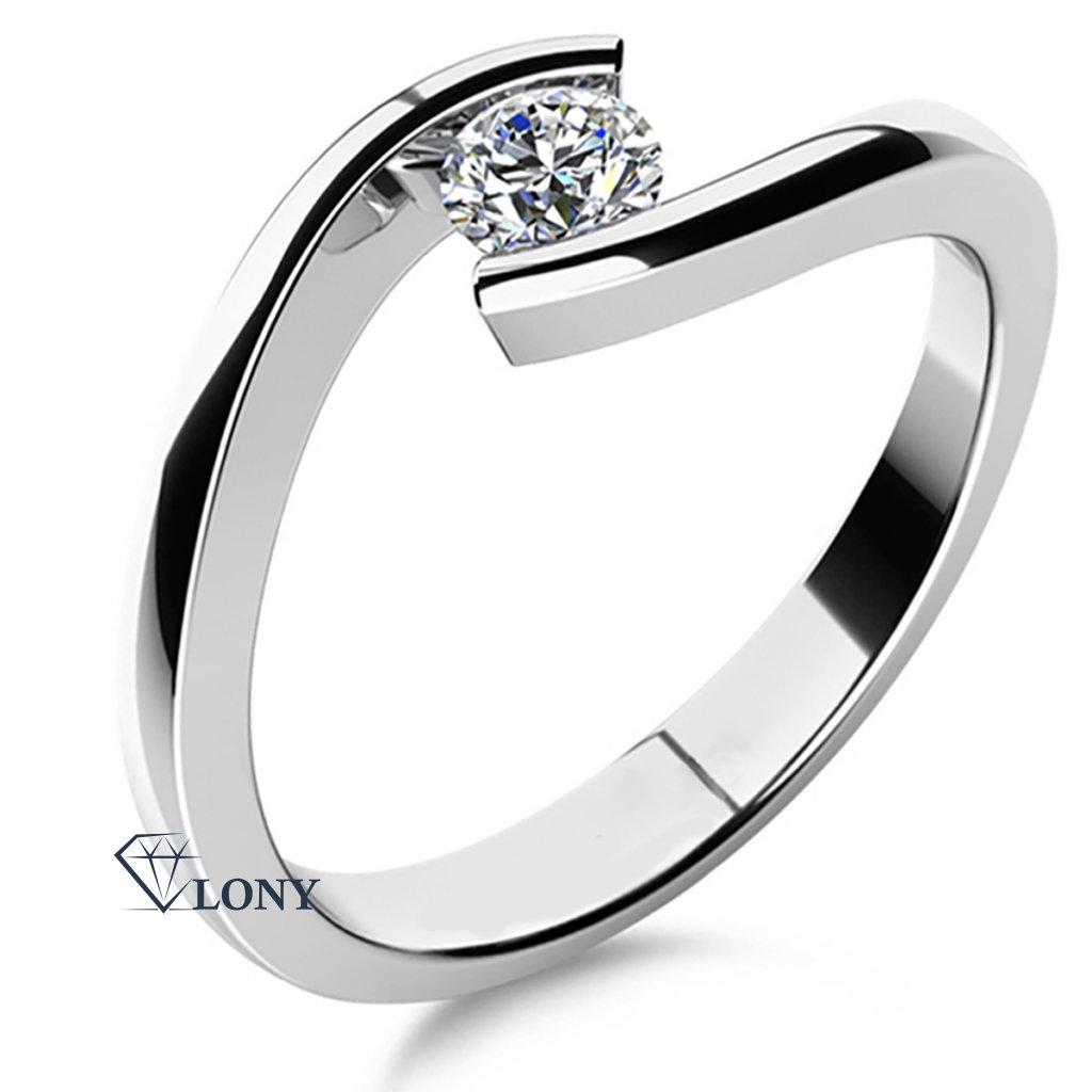 Minimalistický prsten Freya z bílého zlata s diamantemZlatnictví LONY, zásnubní prsten, bílé zlato, zirkony