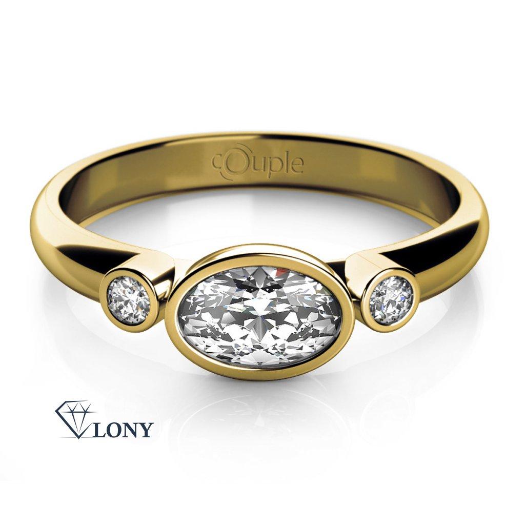 Elegantní prsten Ellie ze žlutého zlata