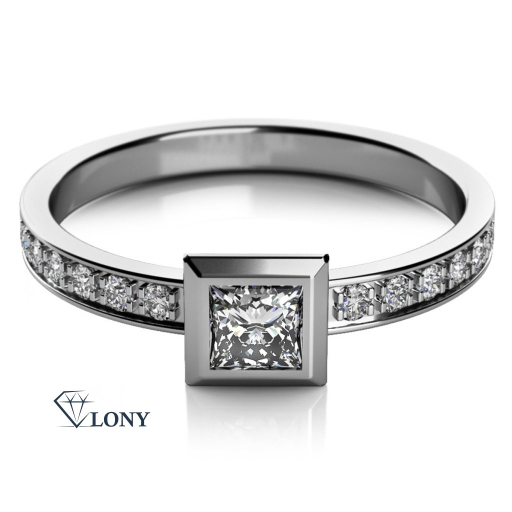 Zajímavý prsten Debbie z bílého zlata