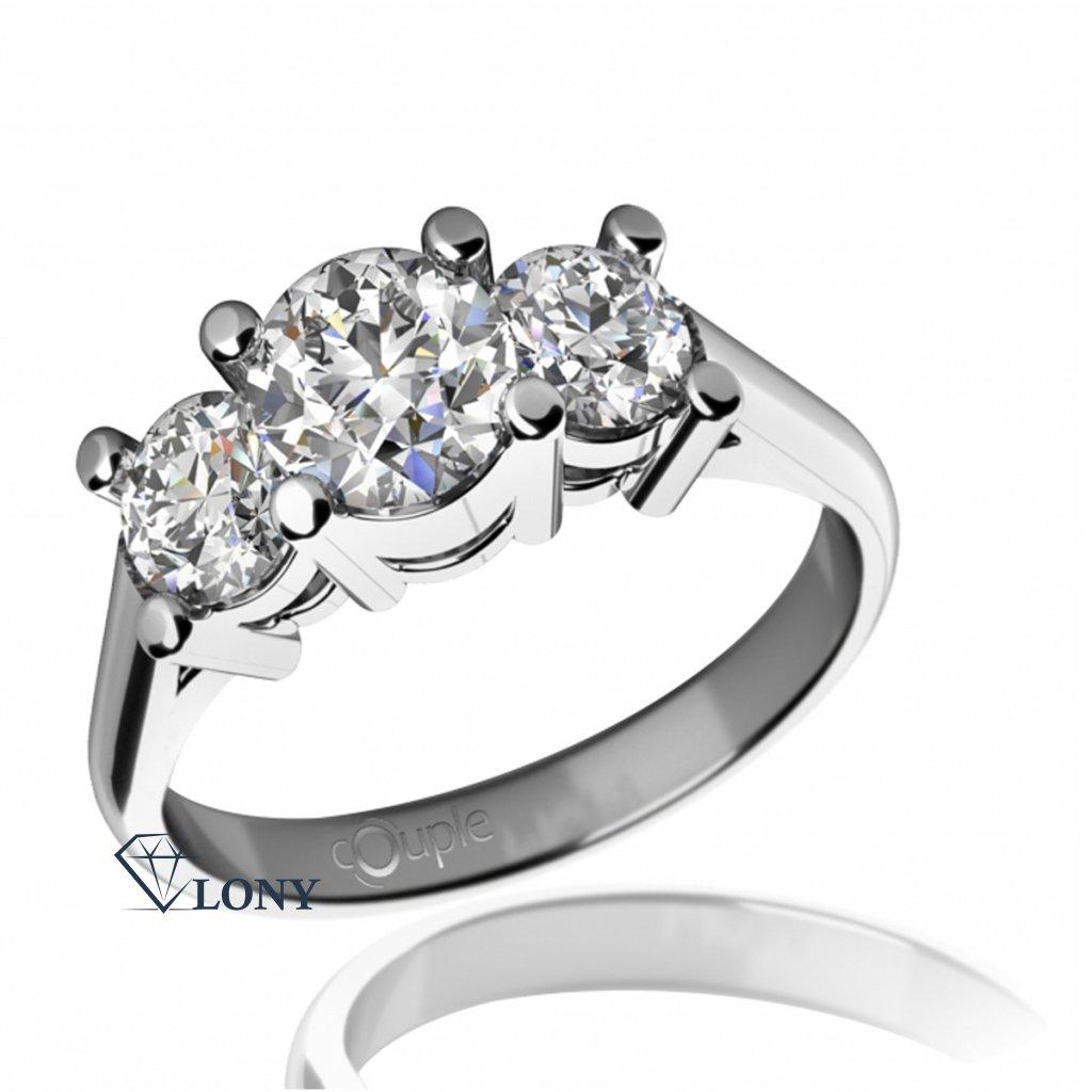 Zásnubní prsten Unique, bílé zlato se zirkony