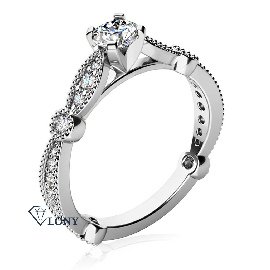 Zásnubní prsten Briar, bílé zlato se zirkony