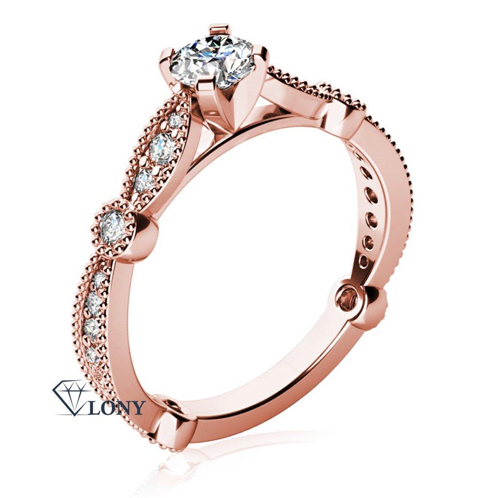 Zásnubní prsten Briar, růžové zlato se zirkony