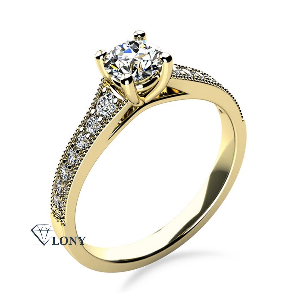 Třpytivý zásnubní prsten Esme, žluté zlato a zirkony