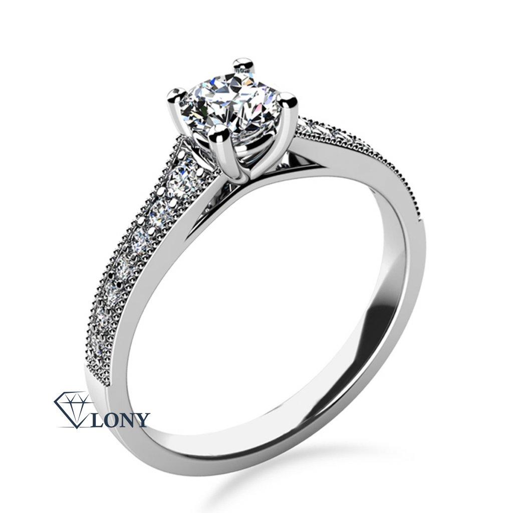 Třpytivý zásnubní prsten Esme, bílé zlato a zirkony