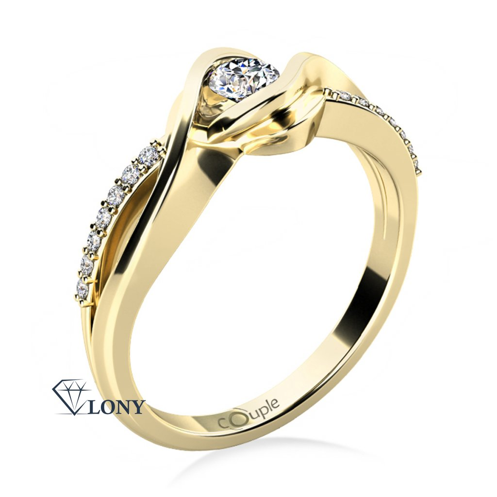 Luxusní zásnubní prsten Moniq, žluté zlato a zirkony