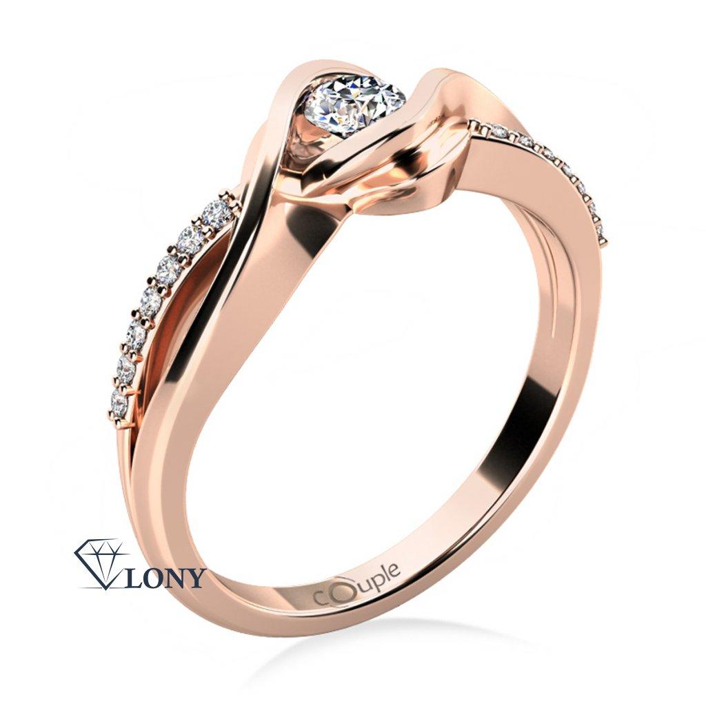 Luxusní zásnubní prsten Moniq, růžové zlato a zirkony