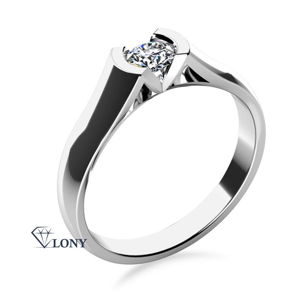 Zásnubní prsten Paige, bílé zlato se zirkonem