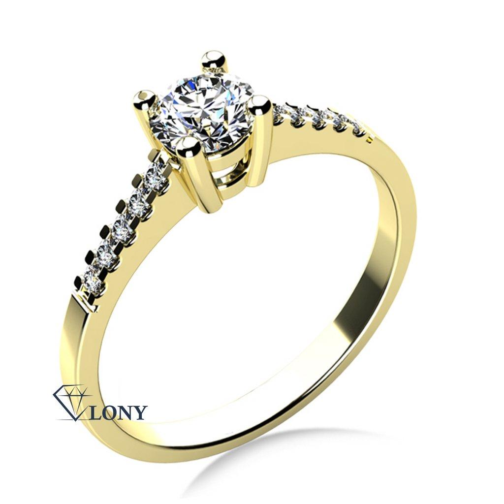Zásnubní prsten Marcia ve žlutém zlatě se zirkony