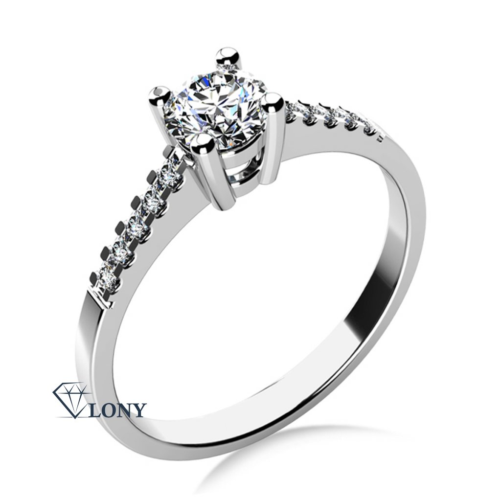 Zásnubní prsten Marcia v bílém zlatě se zirkony