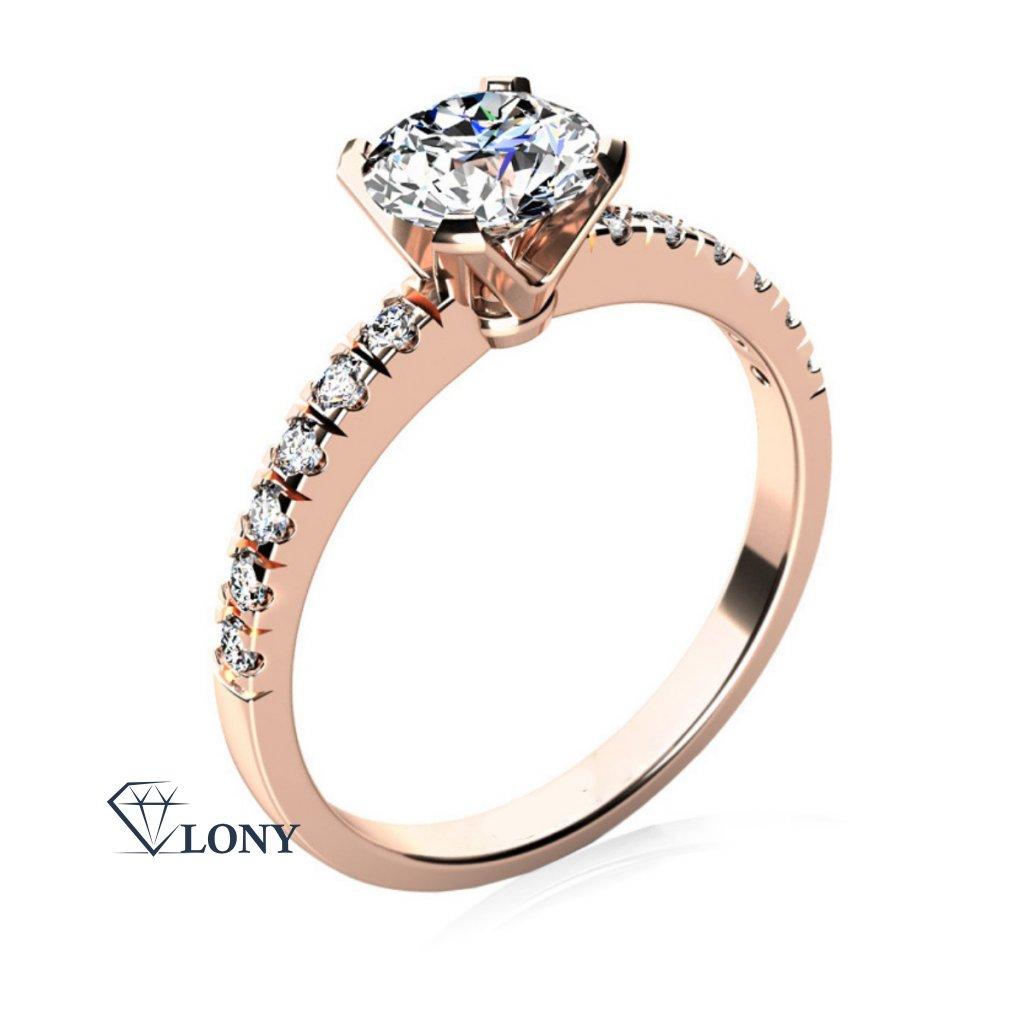 Luxusní zásnubní prsten Sally, růžové zlato se zirkony