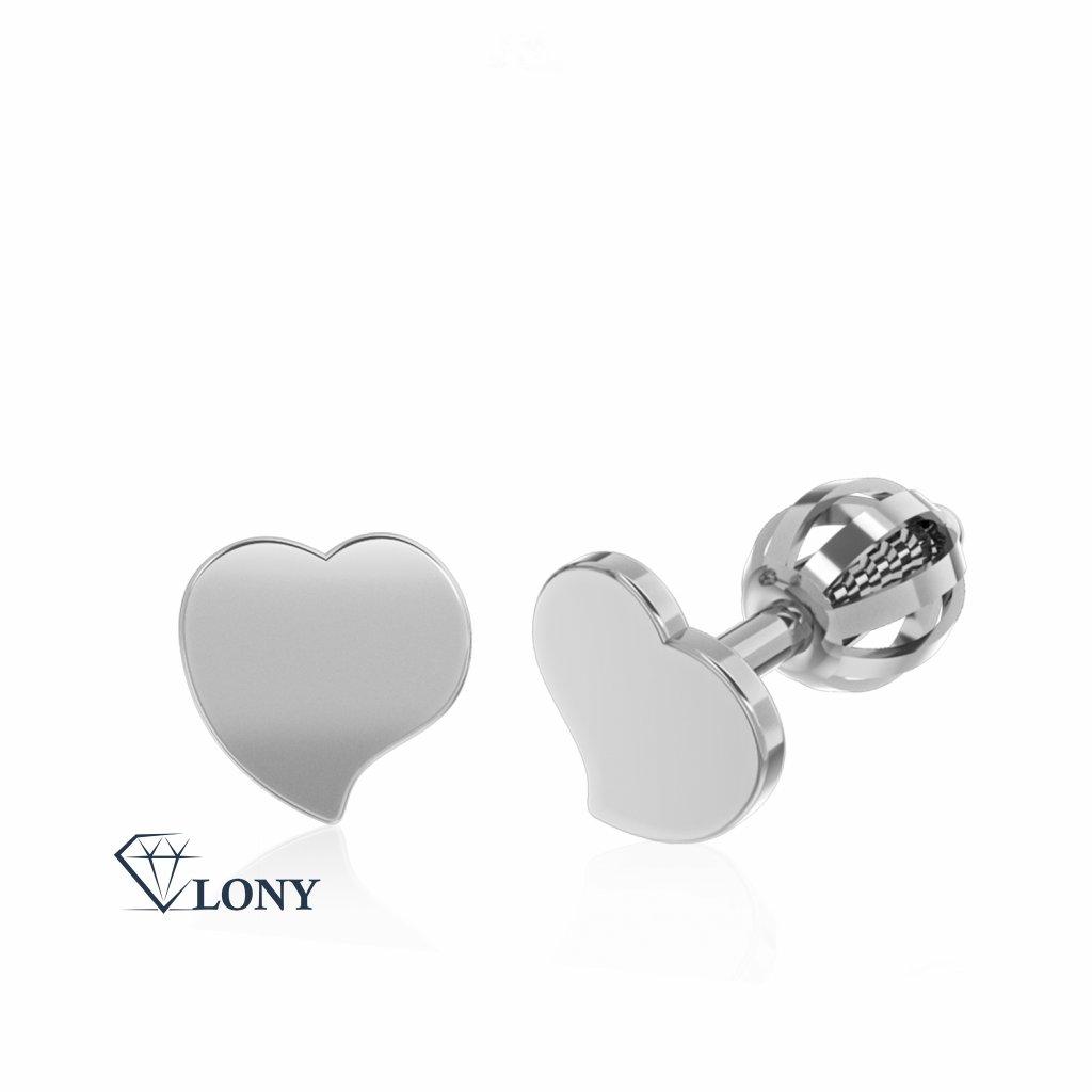 Minimalistické náušnice IDOL Heart, bílé zlato