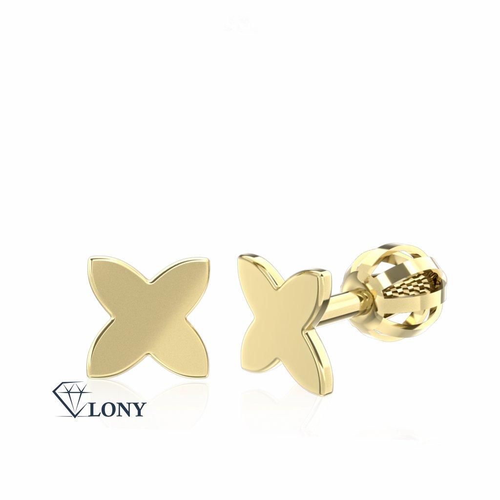 Minimalistické náušnice IDOL Star, žluté zlato