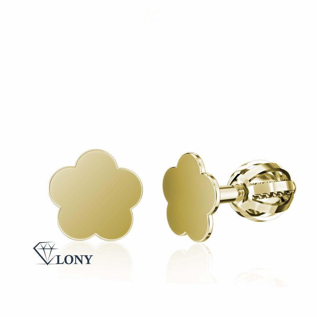 Minimalistické náušnice IDOL Bloom, žluté zlato