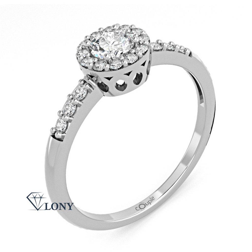 Honosný zásnubní prsten Sari, bílé zlato se zirkony