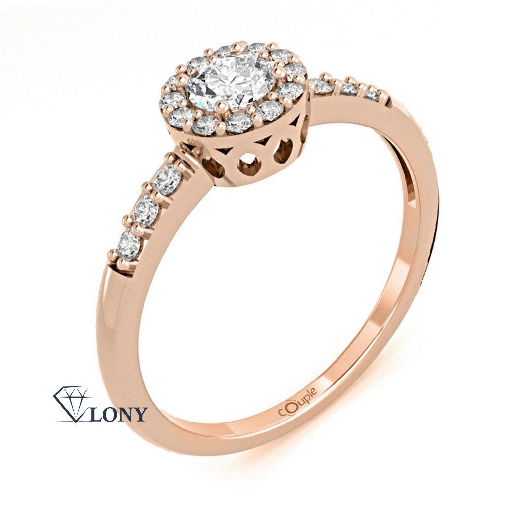 Honosný zásnubní prsten Sari, růžové zlato se zirkony