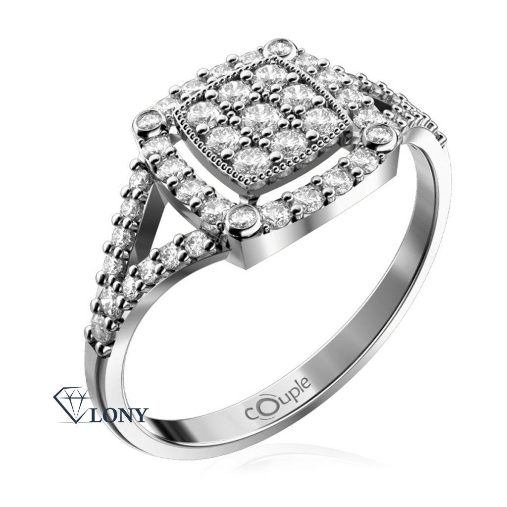 Jiskřivý prsten Kostka, bílé zlato se zirkony