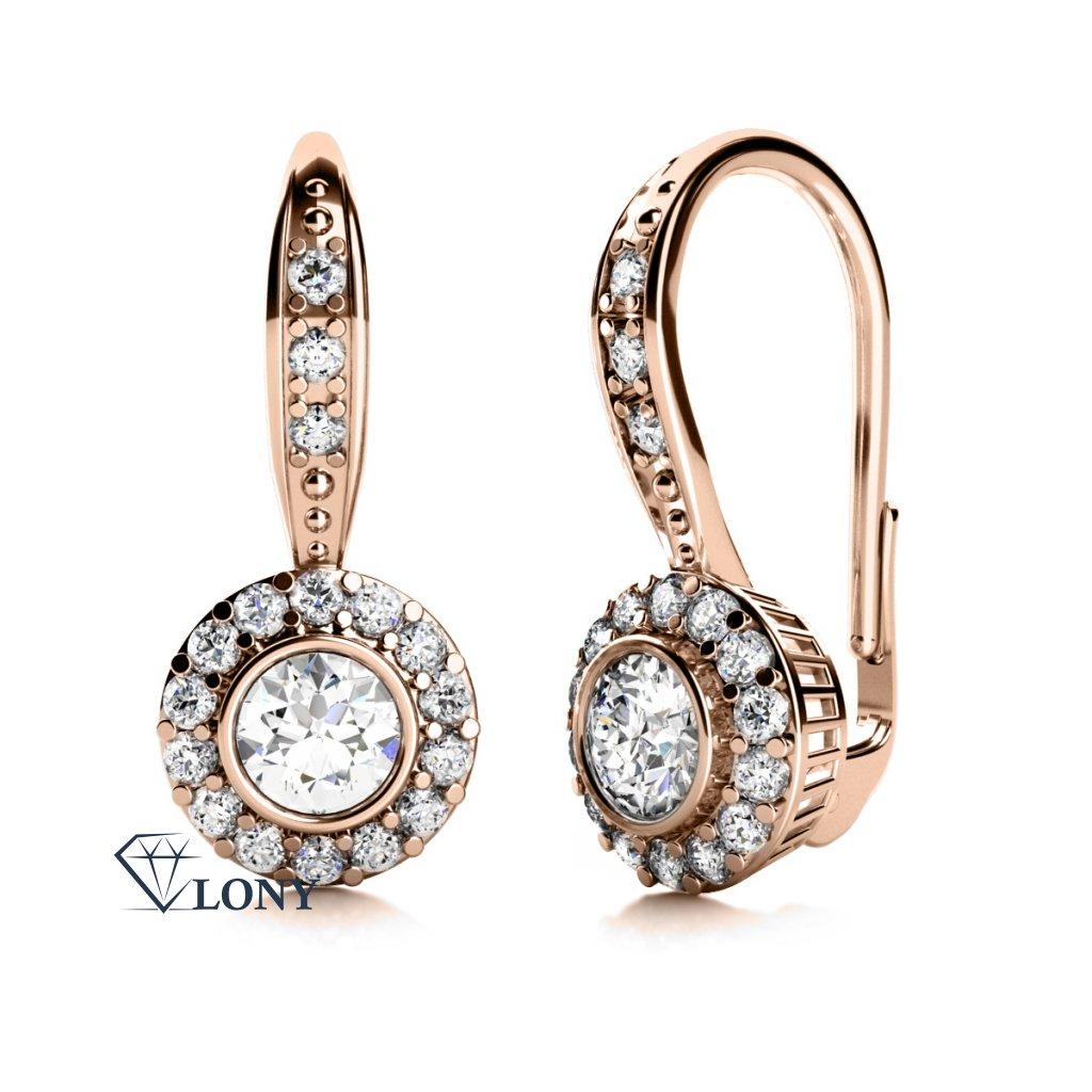Luxusní náušnice Samantha, růžové zlato a zirkony
