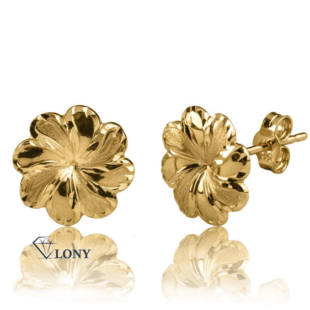 Náušnice Peony ve žlutém zlatě
