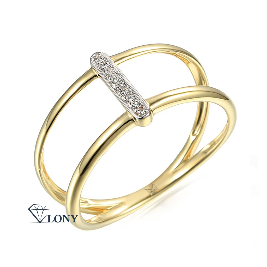 Diamantový prsten Kamari, žluté a bílé zlato s brilianty