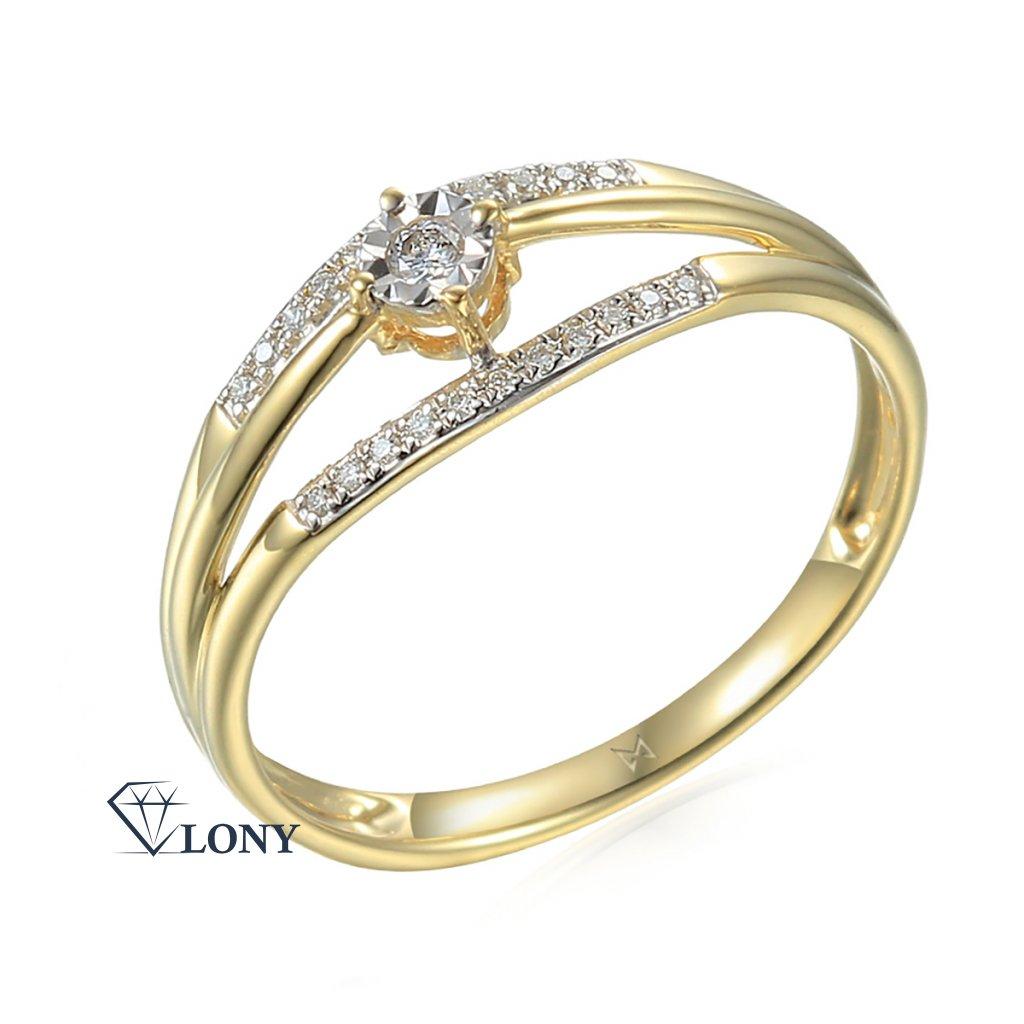 Diamantový prsten Akira v kombinaci žlutého a bílého zlata