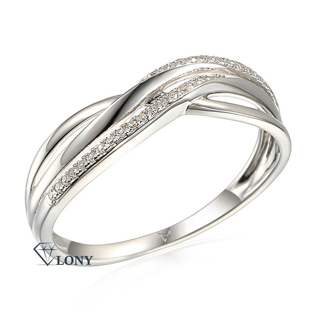 Elegantní diamantový prsten Eve, bílé zlato a brilianty