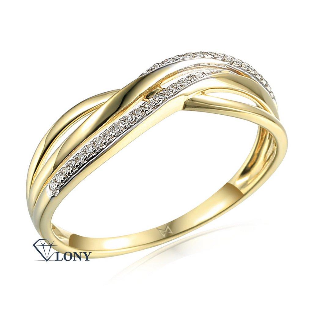 Elegantní diamantový prsten Eve, žluté zlato a brilianty