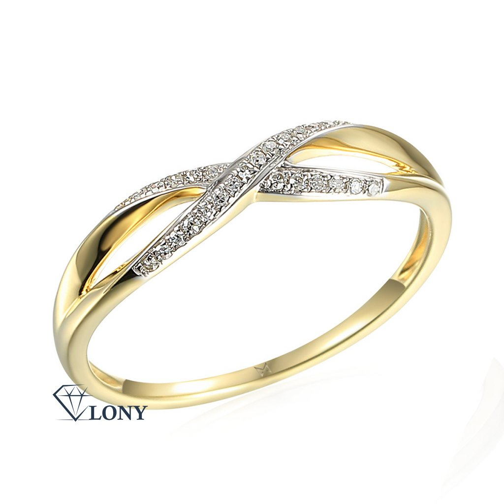 Půvabný prsten Lily, kombinované zlato a brilianty