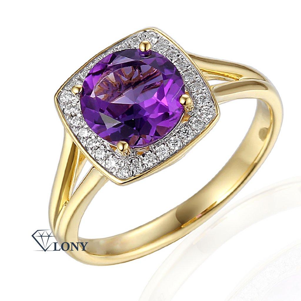 Diamantový prsten Margott, bílé zlato a fialový ametyst