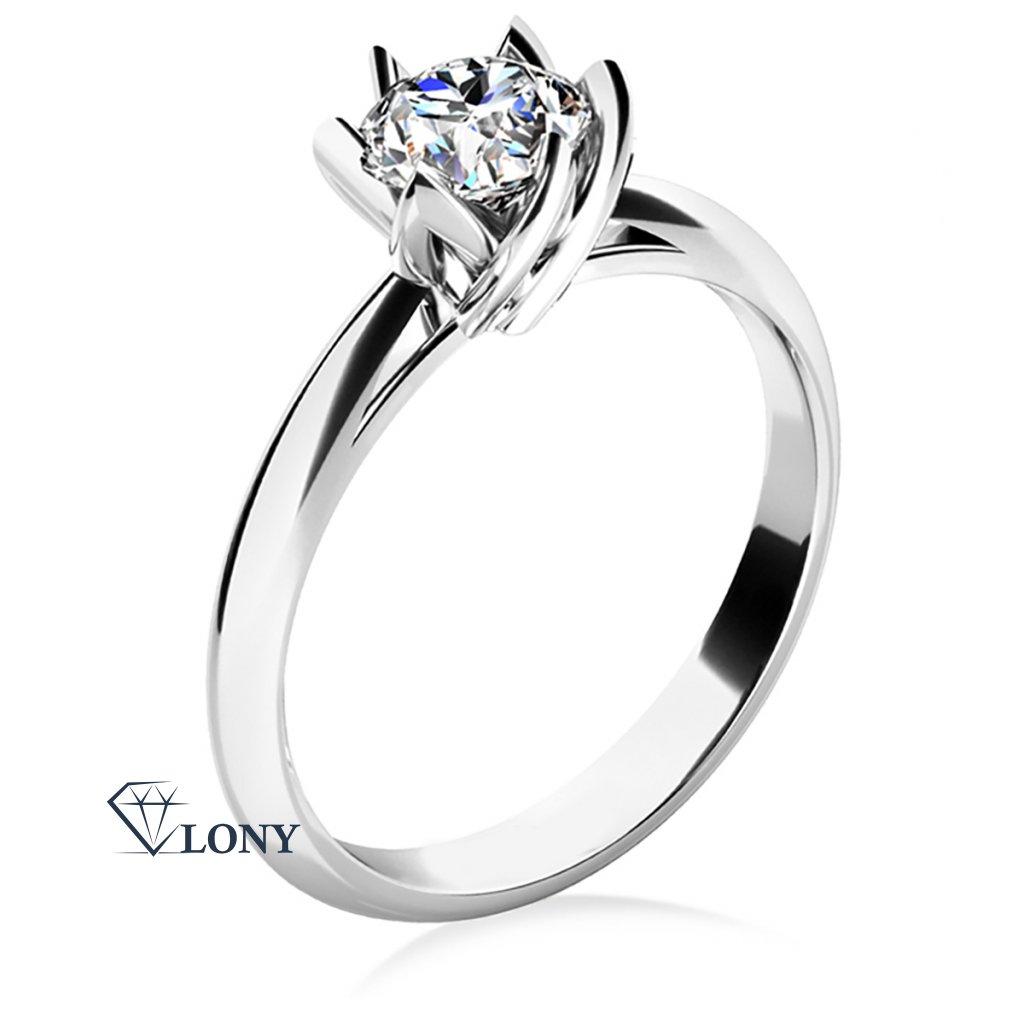 Prsten Lucille, bílé zlato s výrazným zirkonem