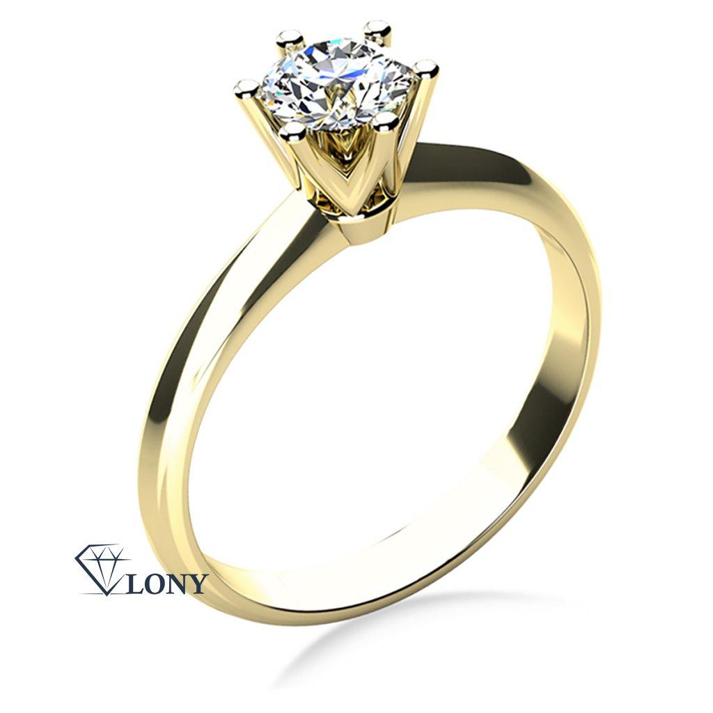 Prsten Lucille Exclusive, žluté zlato s karátovým diamantem 1 ct,