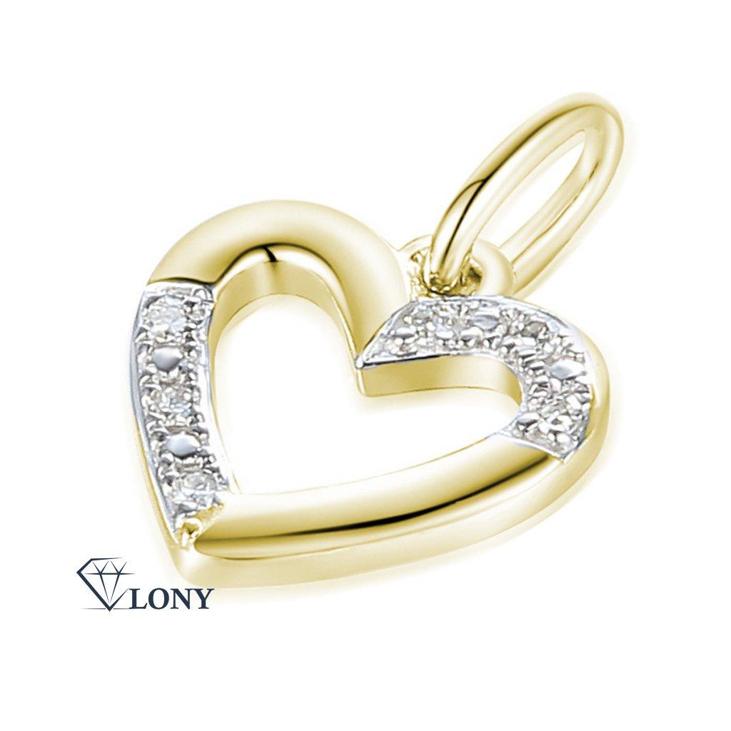 Decentní přívěsek Dony, žluté zlato s diamanty