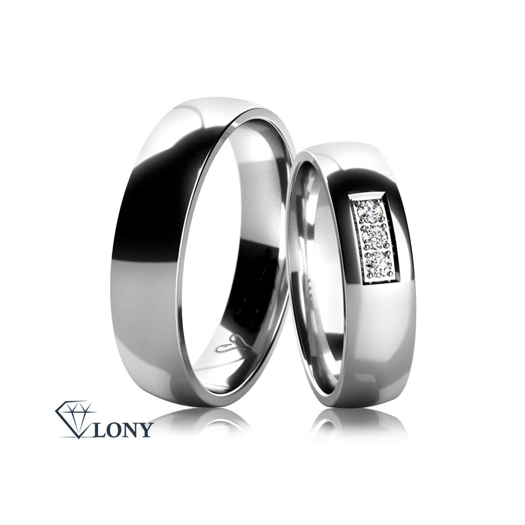 Snubní prsteny z bílého zlata s diamantem