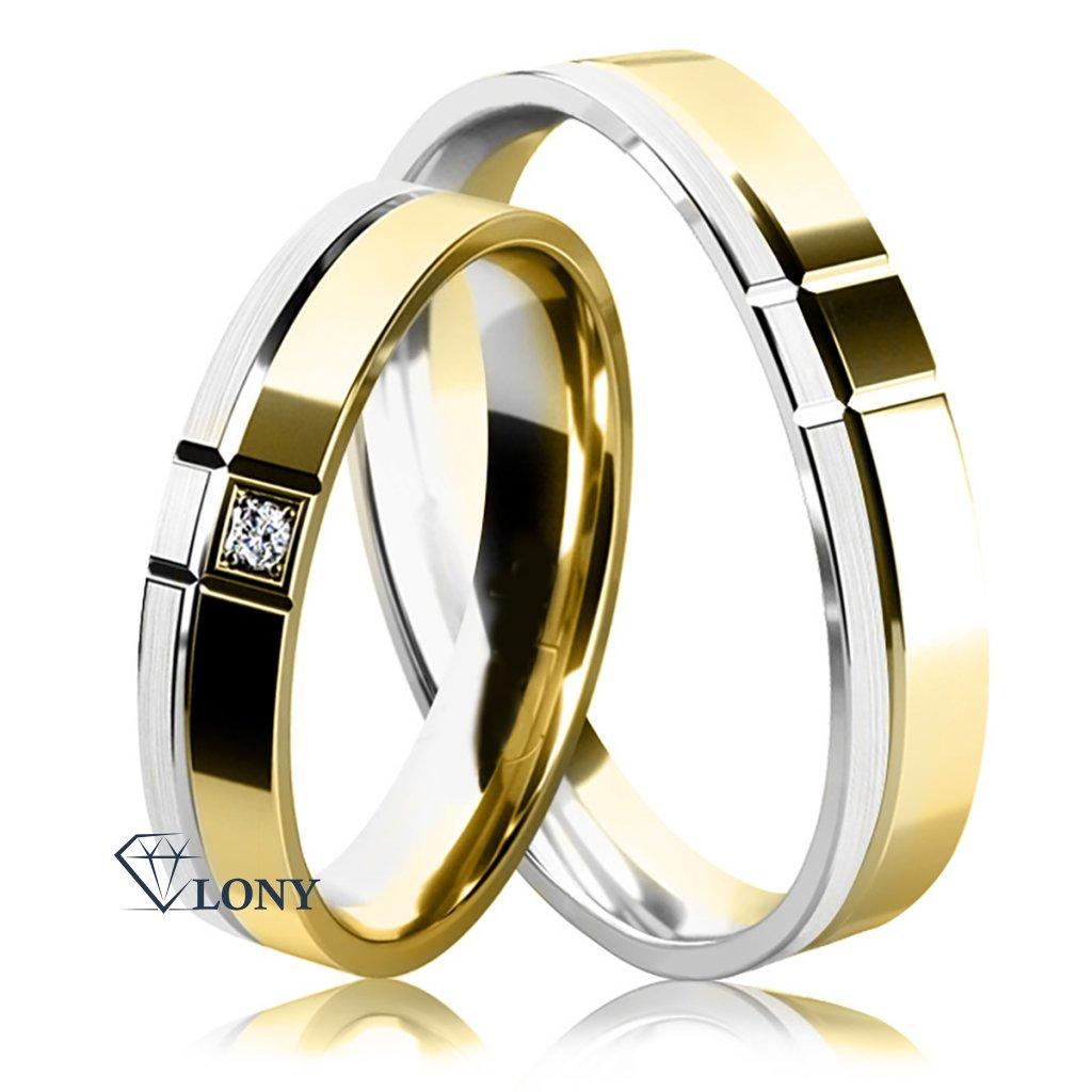 Snubní prsten ze žlutého a bílého zlata s diamantem