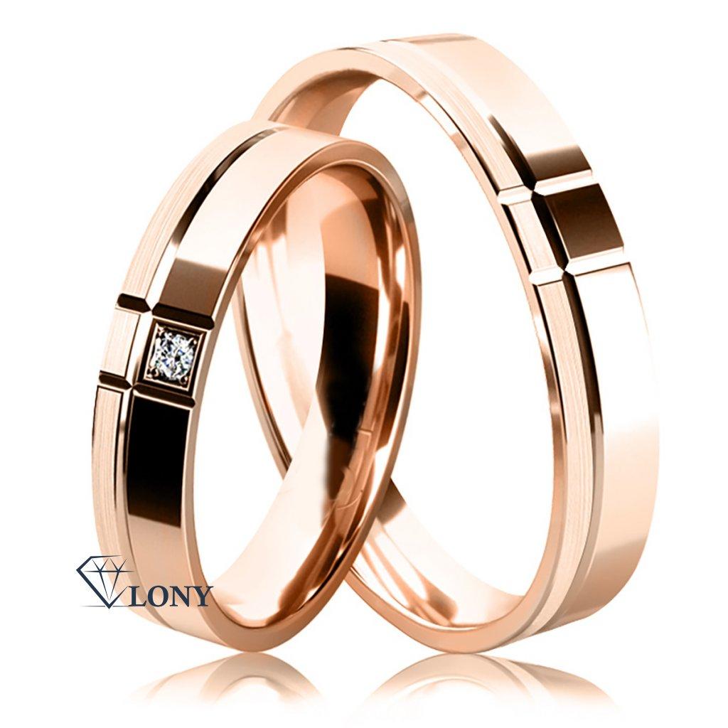 Snubní prsteny Arden, růžové s diamantem