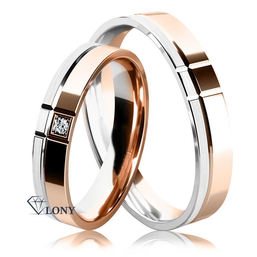Snubní prsteny Arden, růžové a bílé zlato s diamantem