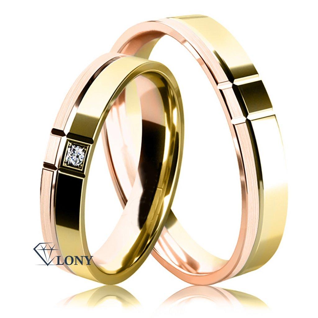 Snubní prsteny ze žlutého a růžového zlata s diamantem