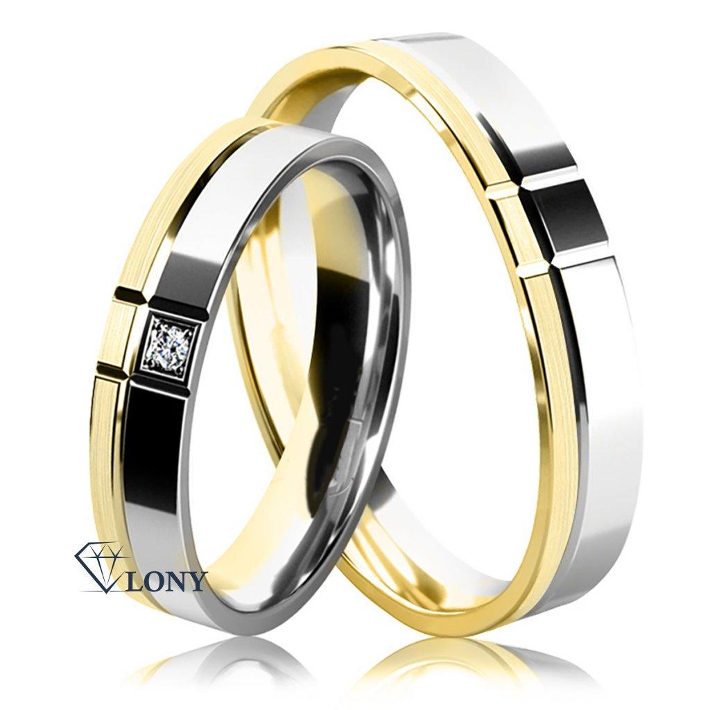 Snubní prsteny Arden, bílé a žluté zlato s diamantem