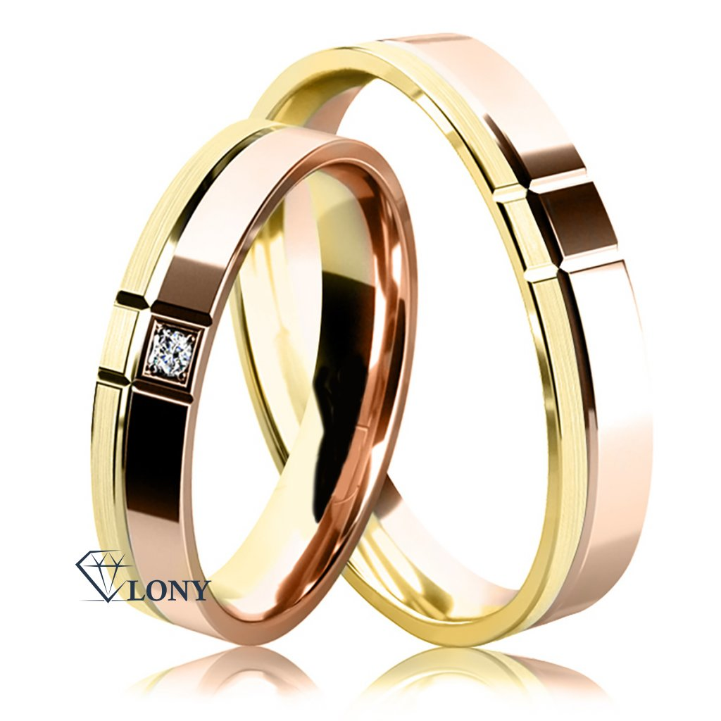 snubní prsteny, růžové a žluté zlato s diamantem