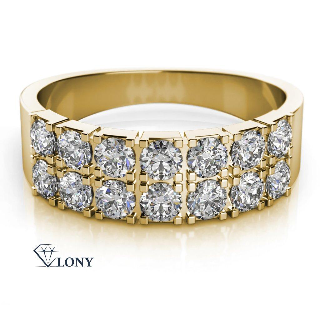 Zlatnictví LONY, prsten, žluté zlato, zirkony