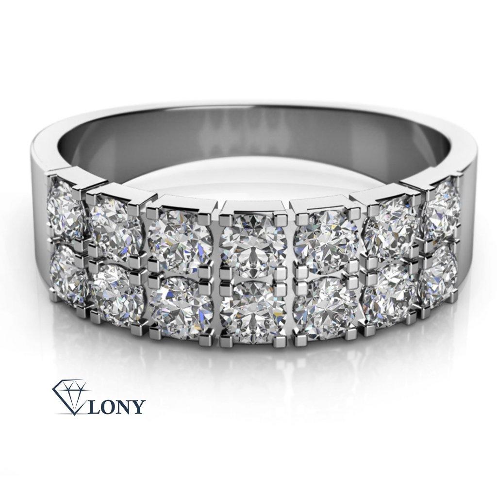 Zlatnictví LONY, prsten, bílé zlato, zirkony