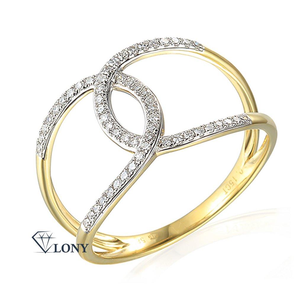 Diamantový prsten Emory, žluté a bílé zlato s brilianty
