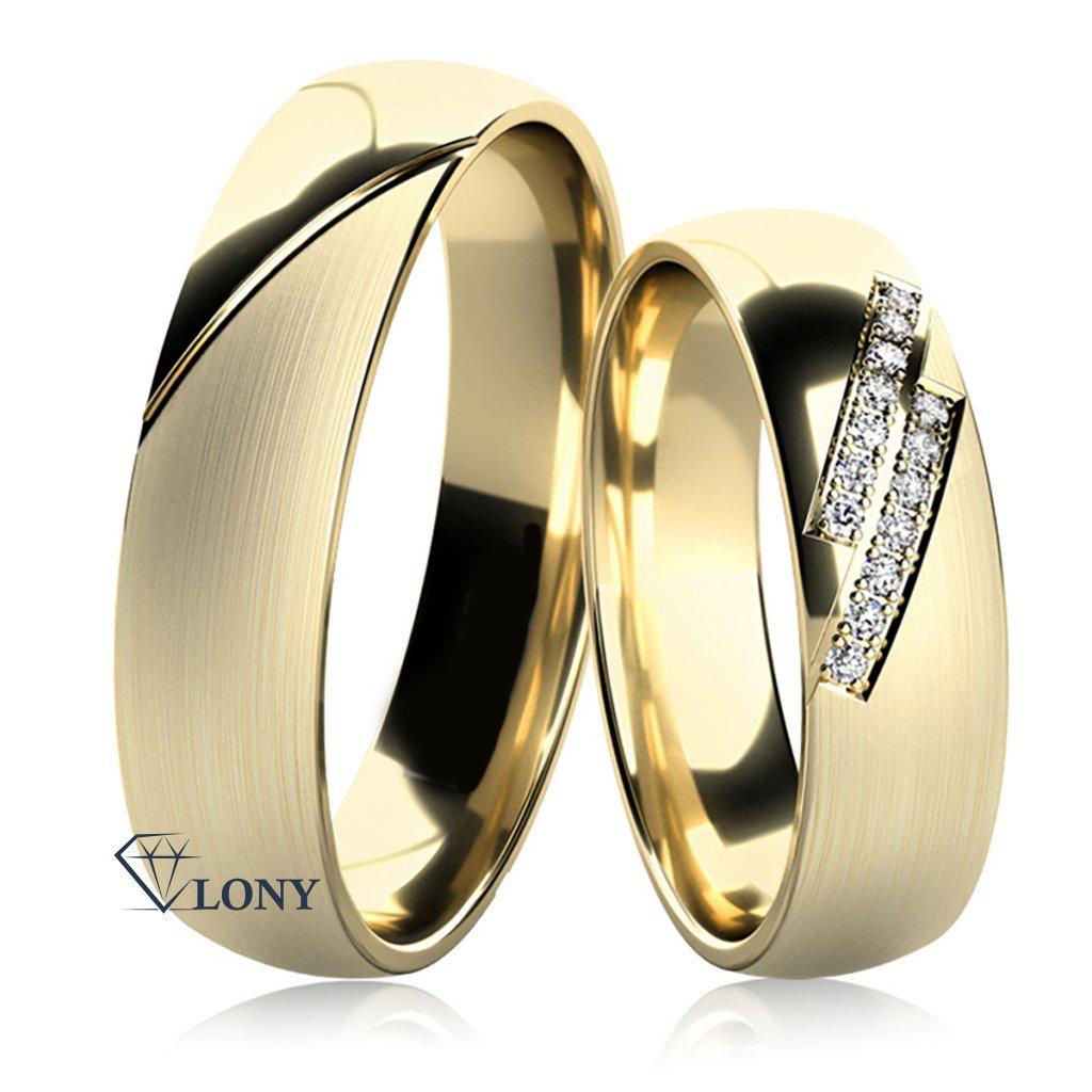 Snubní prsteny Carminis, žluté zlato s diamanty