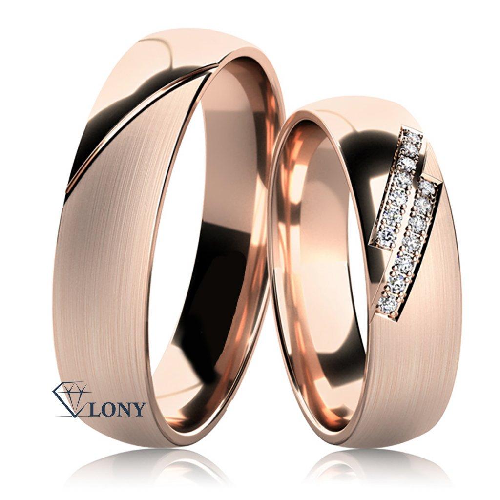 Snubní prsteny Carminis, růžové zlato s diamanty