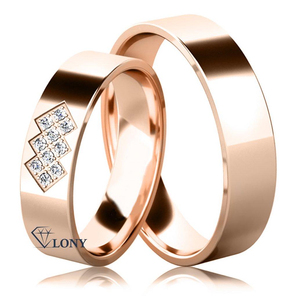 Snubní prsteny Asher, růžové zlato s diamanty