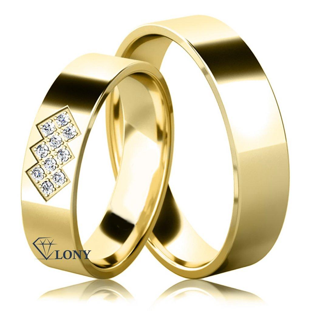 Snubní prsteny Asher, žluté zlato s diamanty