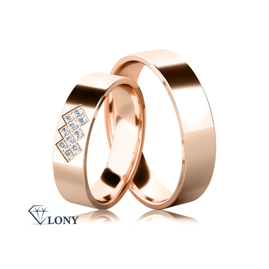 Snubní prsteny, bílé zlato s diamanty