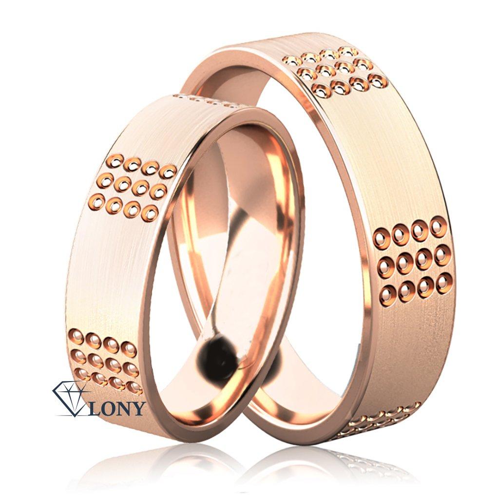 Zlatnictví LONY, snubní prsteny Emerson z růžového zlata