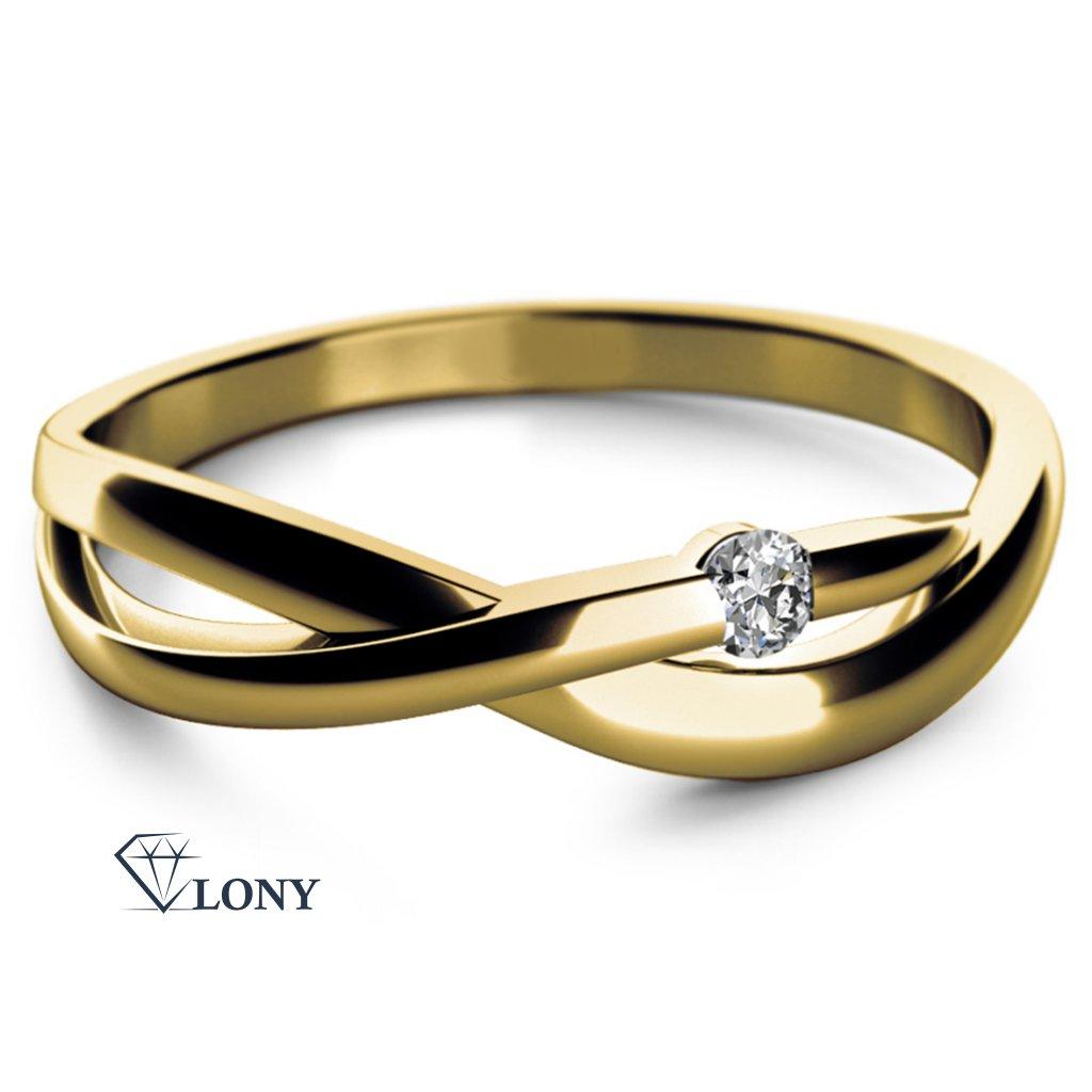 Zlatý prsten se zirkony Zlatnictví LONY