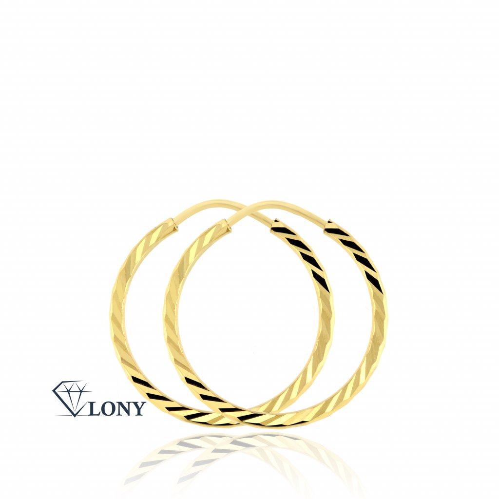 Střední kruhové náušnice ze žlutého zlata